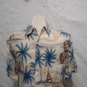 Hawaiian Hula Girl Camp Print Shirt Men's S Small